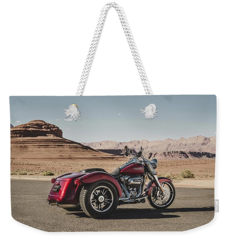 Harley-davidson Freewheeler Weekender Tote Bag featuring the digital art Harley-Davidson Freewheeler by Super Lovely
