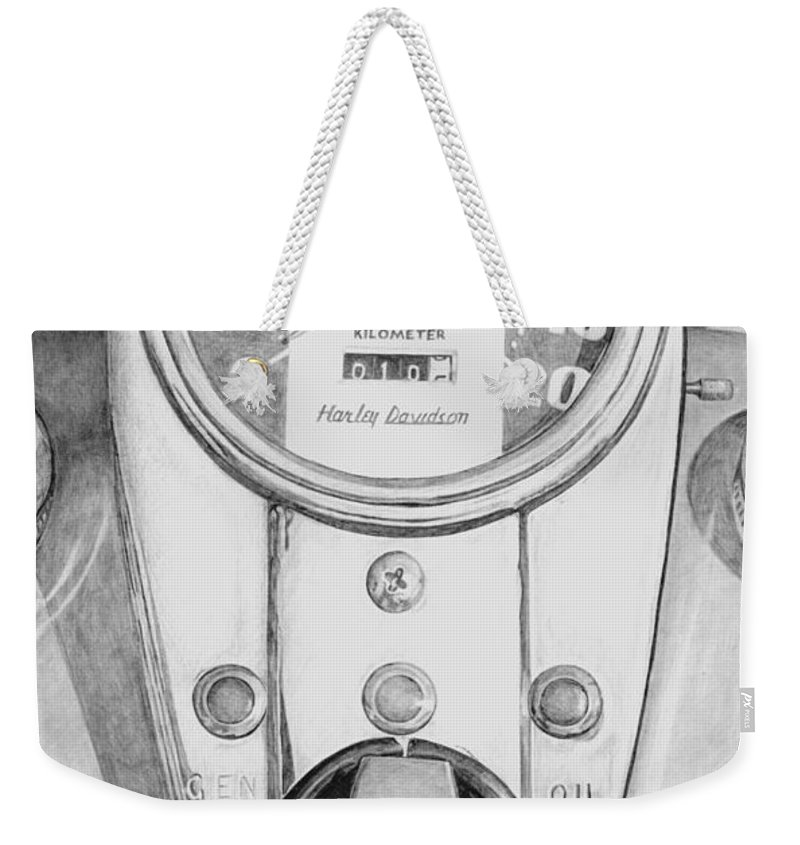 Motor Cycle Weekender Tote Bag featuring the drawing Harley Davidson by Rob De Vries