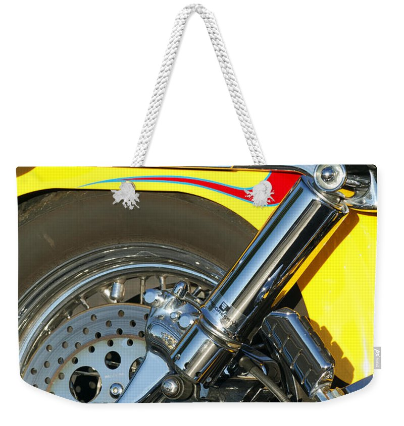 Harley-davidson Twin Cam Weekender Tote Bag featuring the photograph Harley-davidson Twin Cam 88 Rear Wheel by Jill Reger