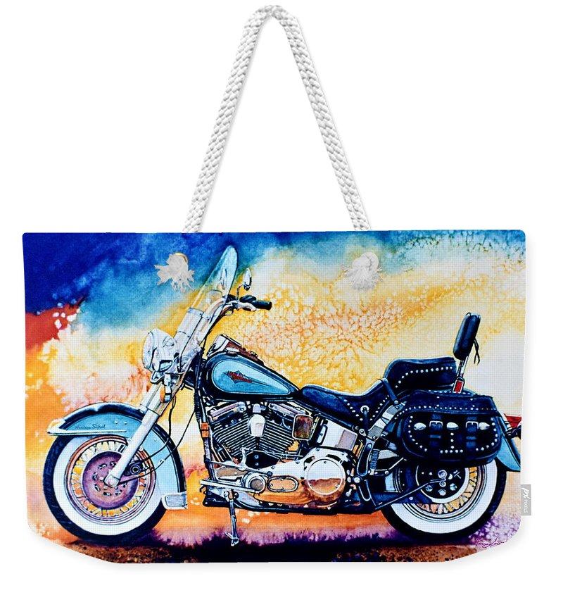 Heritage Softail Weekender Tote Bag featuring the painting Harley Hog I by Hanne Lore Koehler