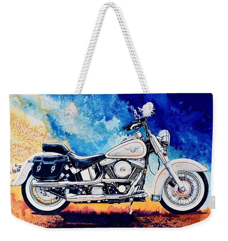 Harley Davidson Heritage Softail Weekender Tote Bag featuring the painting Harley Hog II by Hanne Lore Koehler