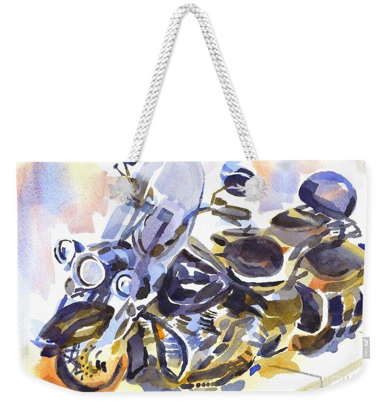 Motorcycle In Watercolor Weekender Tote Bag featuring the painting Motorcycle In Watercolor by Kip DeVore