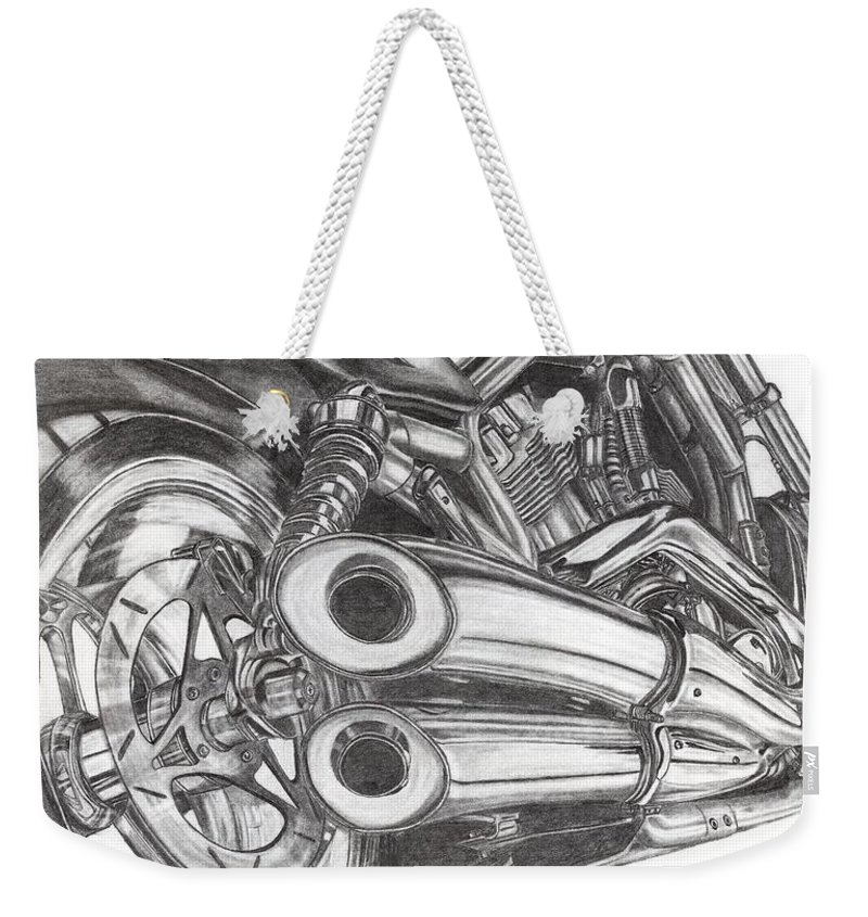 Harley Davidson Weekender Tote Bag featuring the drawing Harley by Kristen Wesch