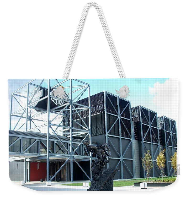 Architechture Weekender Tote Bag featuring the photograph Harley Museum And Statue by Anita Burgermeister