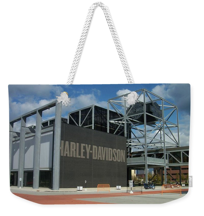 Weekender Tote Bag featuring the photograph Harley Museum by Anita Burgermeister