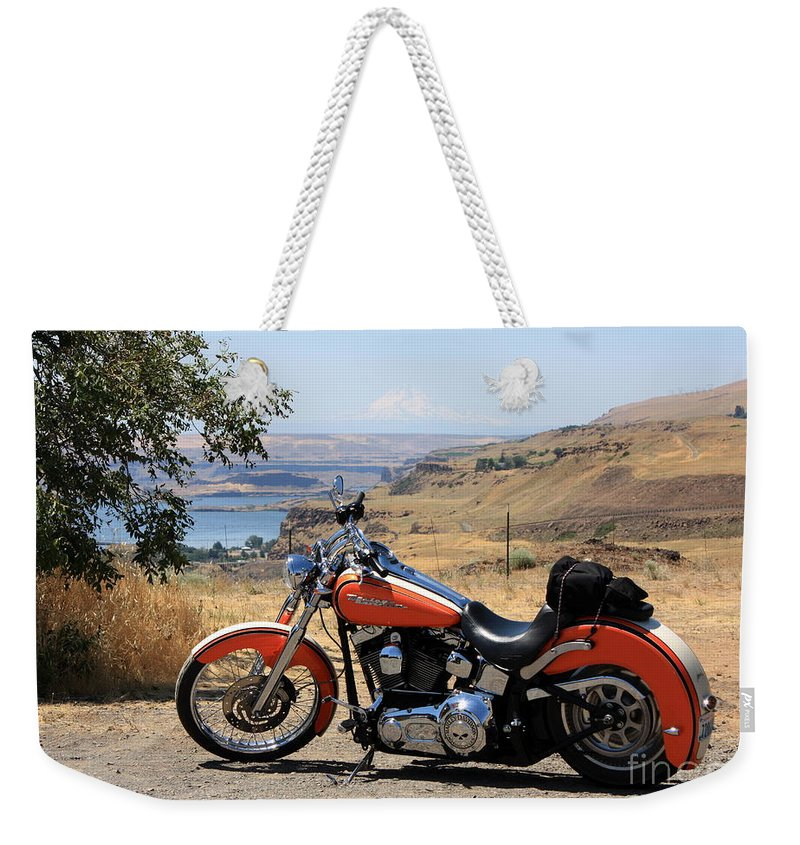 Washington State Weekender Tote Bag featuring the photograph Harley With Columbia River And Mt Hood by Carol Groenen