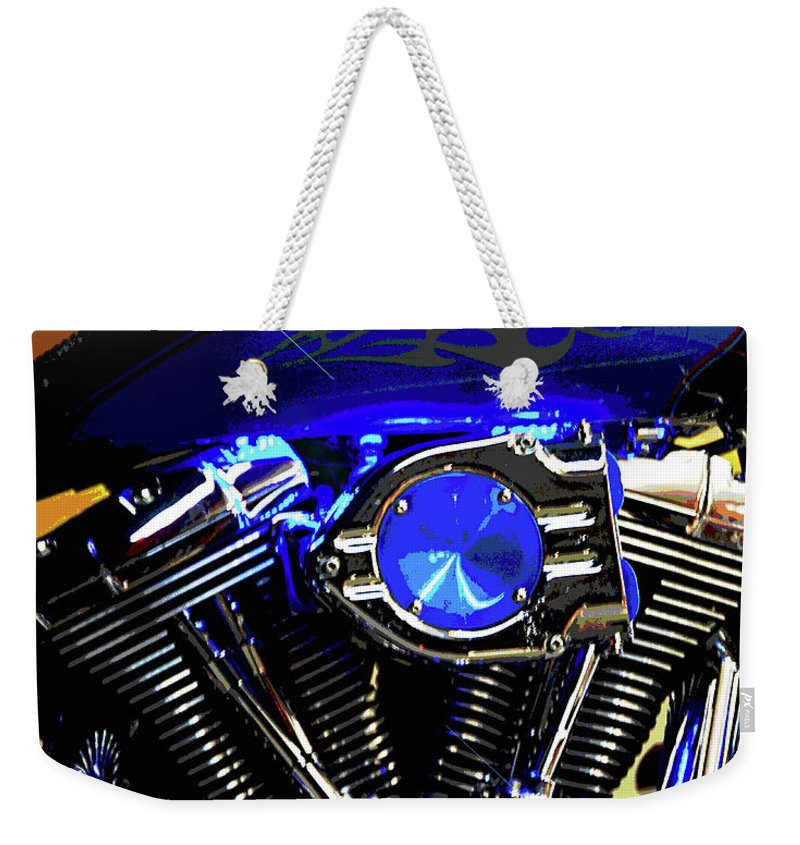 Harley Davidson Weekender Tote Bag featuring the photograph Harleys Twins by DigiArt Diaries by Vicky B Fuller
