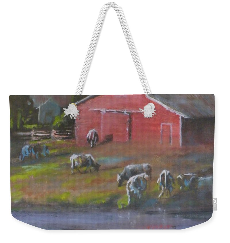 Farms Weekender Tote Bag featuring the painting Harmony by Mia DeLode