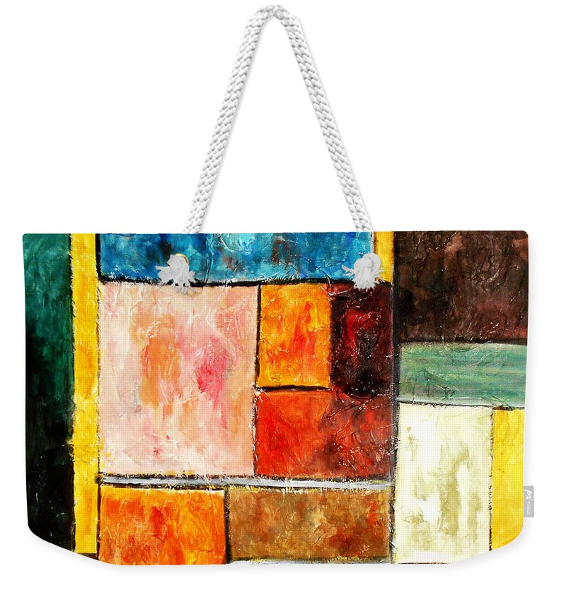 Acrylic Painting Weekender Tote Bag featuring the painting Harmony by Yael VanGruber