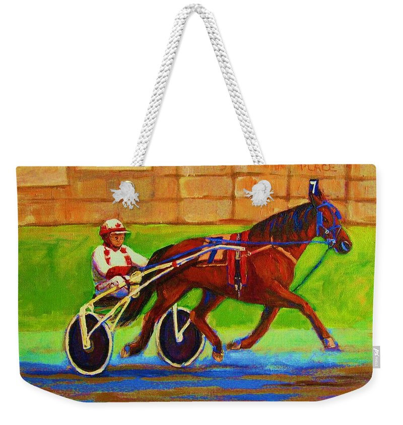Harness Racing Weekender Tote Bag featuring the painting Harness Racing At Bluebonnets by Carole Spandau