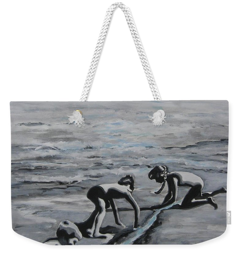 Children Playing On The Beach Weekender Tote Bag featuring the painting Harnessing the Ocean by Naomi Gerrard