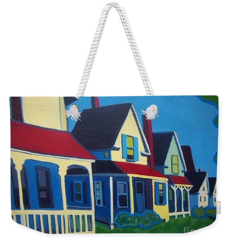 Maine Weekender Tote Bag featuring the painting Harpswell Cottages by Debra Bretton Robinson