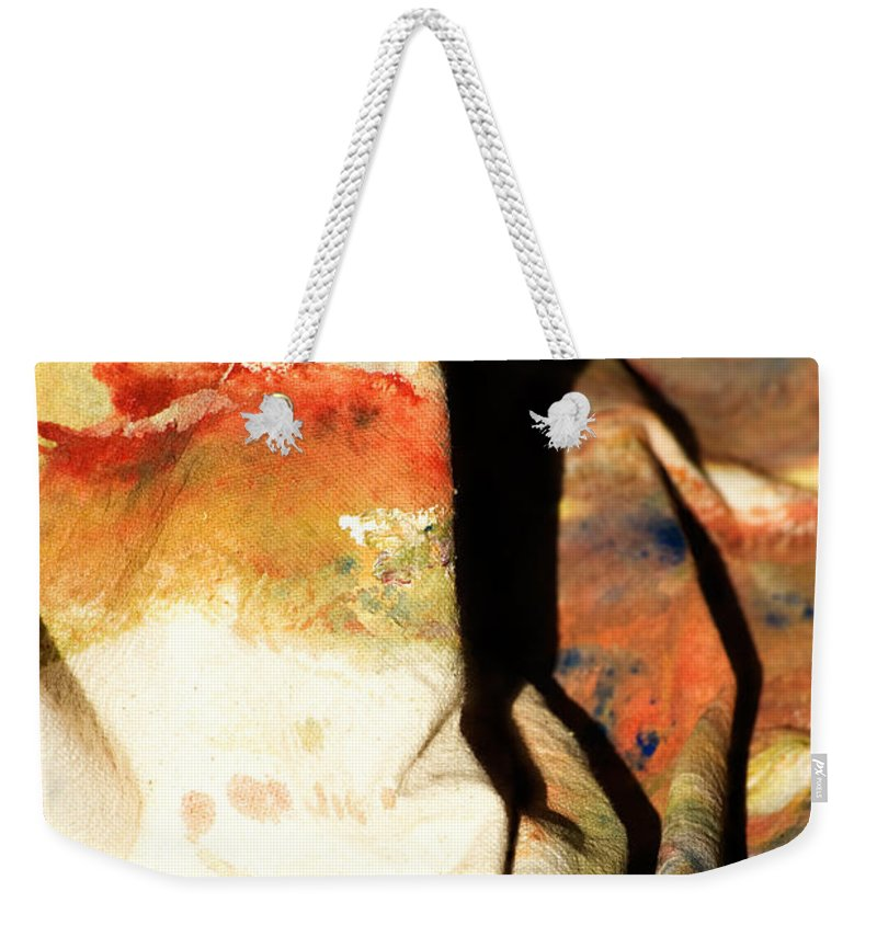 Abstract Weekender Tote Bag featuring the photograph Harsh Shadows On Drop Cloth by John Harmon