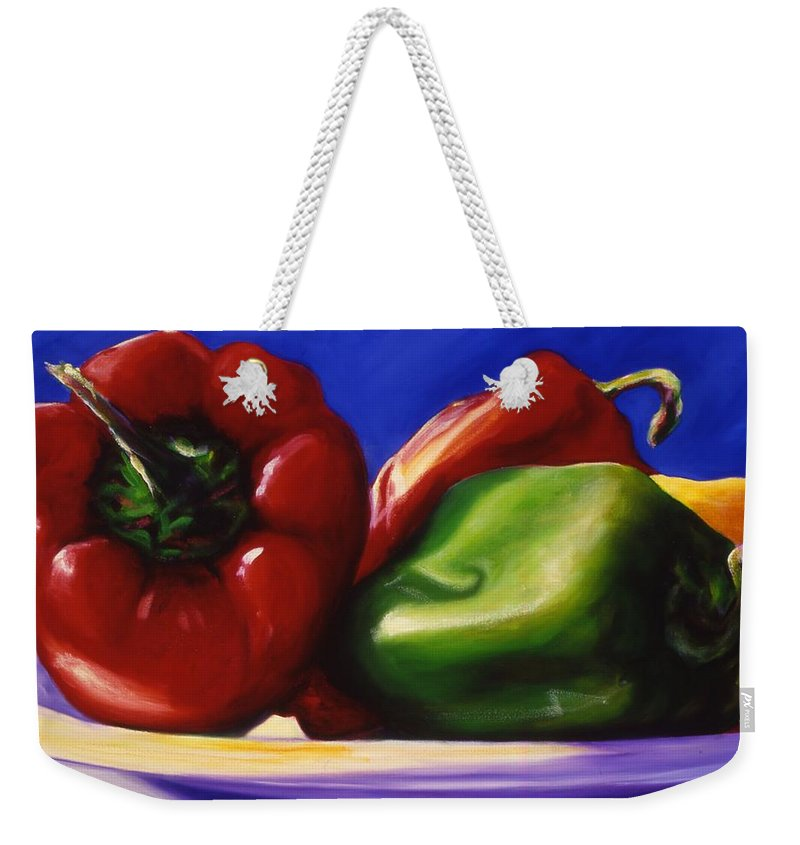 Still Life Weekender Tote Bag featuring the painting Harvest Festival Peppers by Shannon Grissom