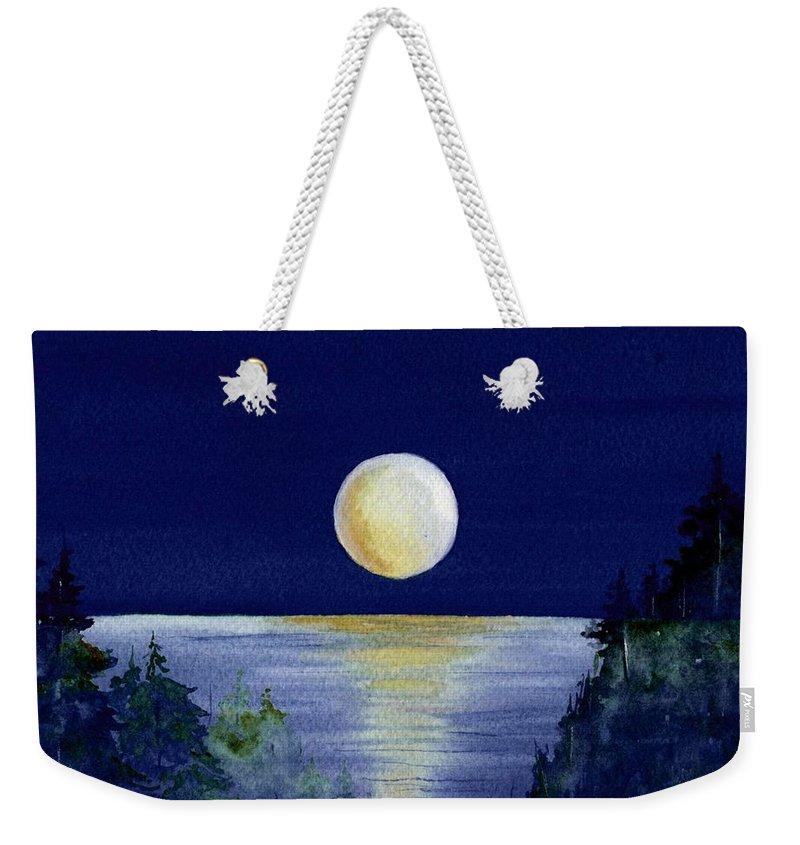 Watercolor Weekender Tote Bag featuring the painting Harvest Moon by Brenda Owen