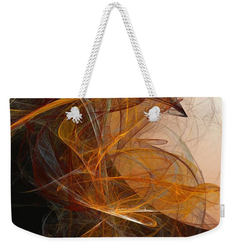 Abstract Expressionism Weekender Tote Bag featuring the digital art Harvest Moon by David Lane