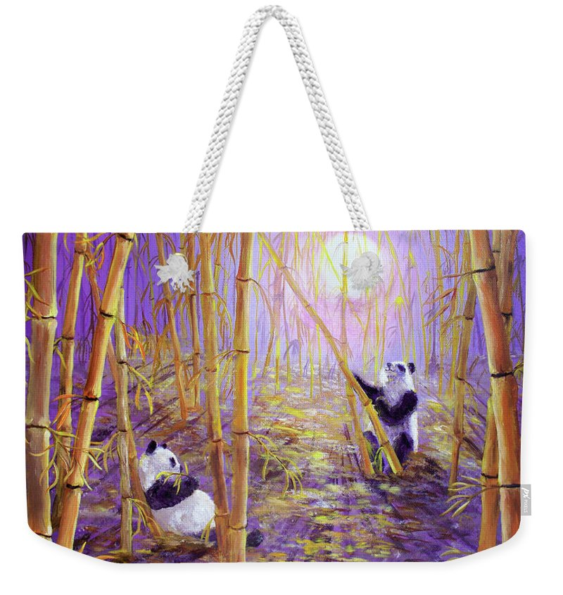 Painting Weekender Tote Bag featuring the painting Harvest Moon Pandas by Laura Iverson