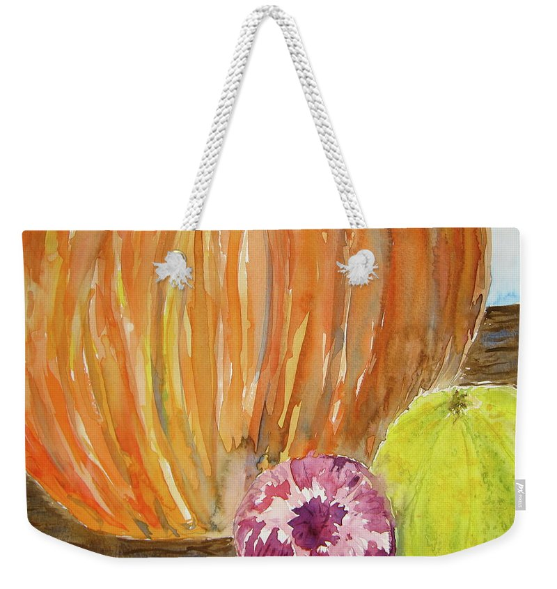 Pumpkin Weekender Tote Bag featuring the painting Harvest Still Life by Beverley Harper Tinsley