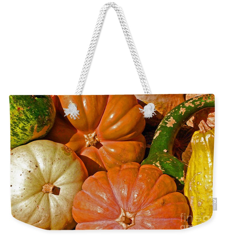 Squash Weekender Tote Bag featuring the photograph Harvest Time by Debbi Granruth