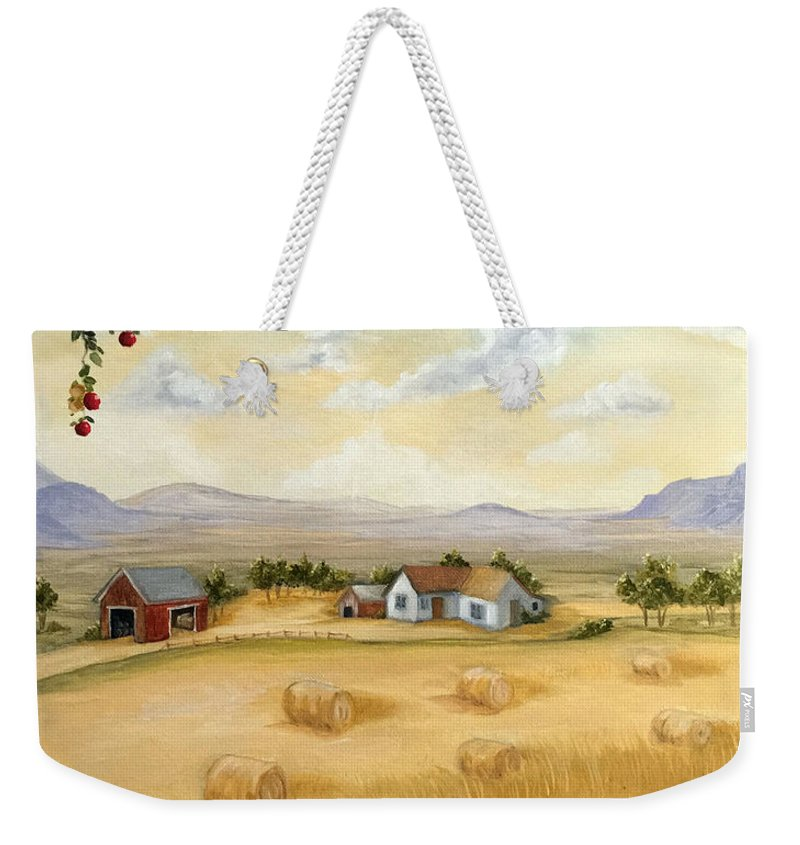 Oil Painting Weekender Tote Bag featuring the painting Harvest Time by Susan Rossell