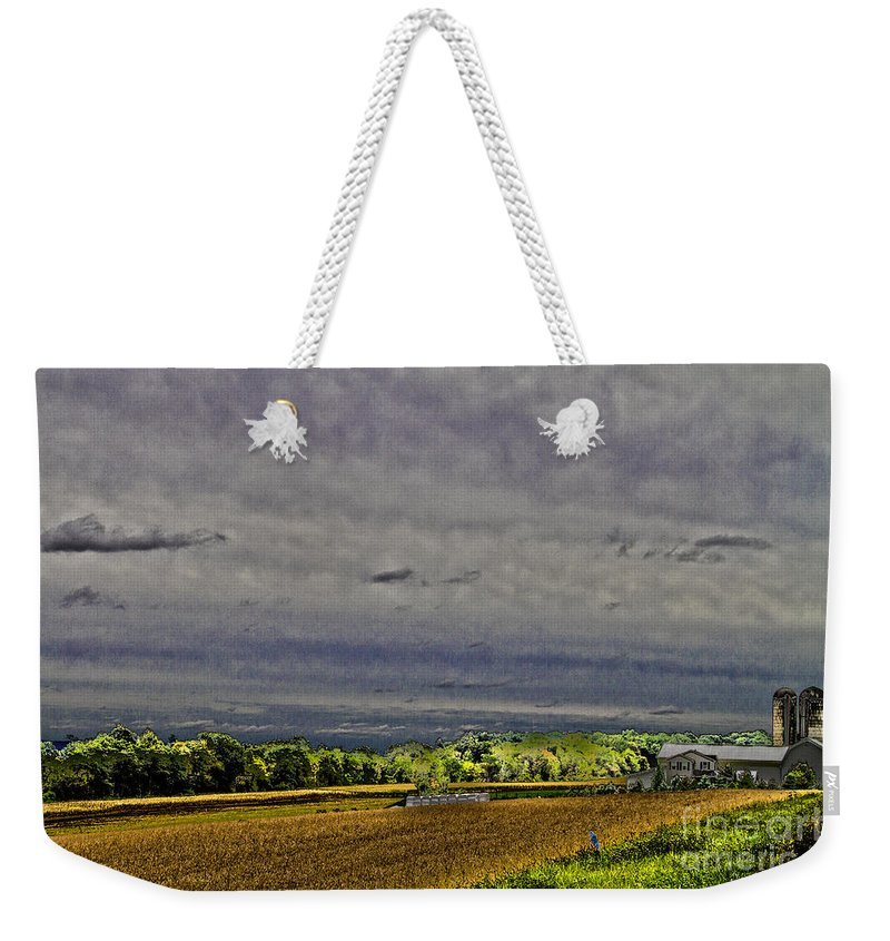 Farm Weekender Tote Bag featuring the photograph Harvested by William Norton