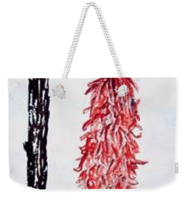 Watercolor Painting Weekender Tote Bag featuring the painting Hatch Texas Chili Pepper painting by Derek Mccrea