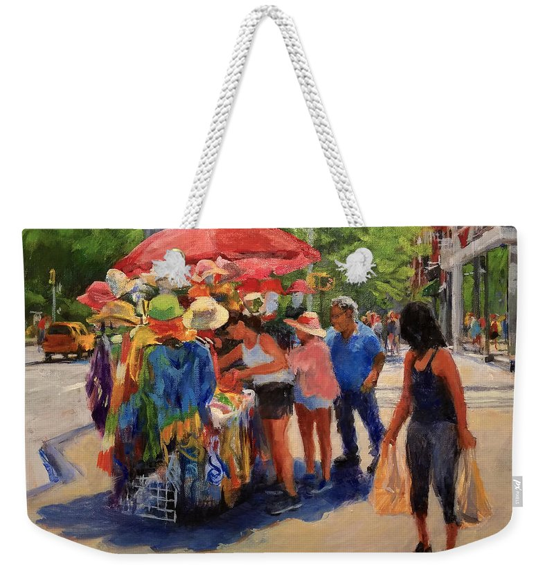 Landscape Weekender Tote Bag featuring the painting Hats, Scarves And Sunlight On Broadway by Peter Salwen