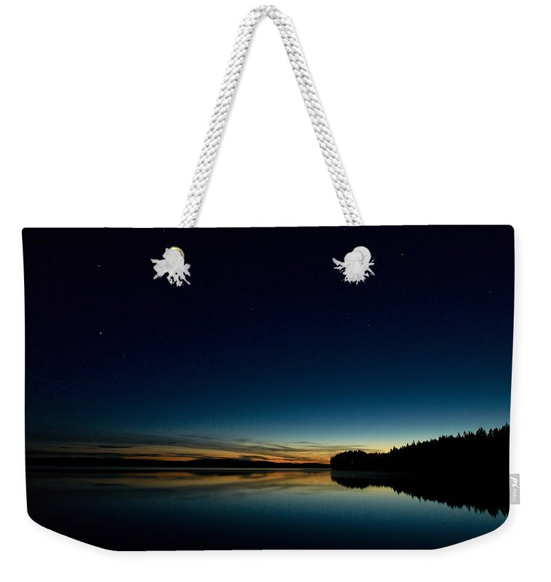 Haukkajarvi Weekender Tote Bag featuring the photograph Haukkajarvi By Night With Ursa Major 1 by Jouko Lehto