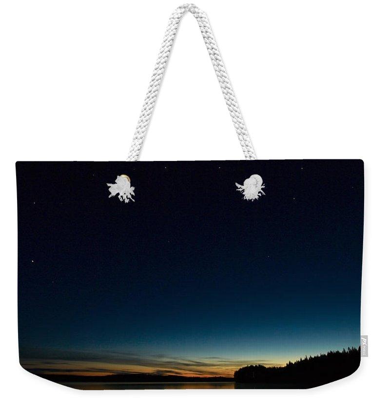 Haukkajarvi Weekender Tote Bag featuring the photograph Haukkajarvi By Night With Ursa Major 2 by Jouko Lehto