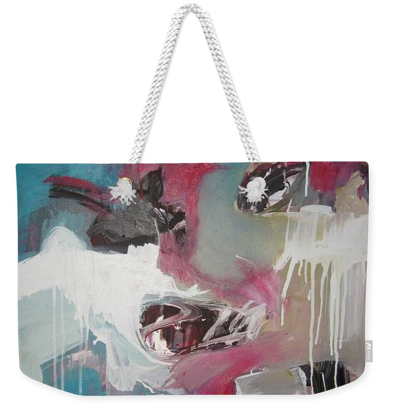 Abstract Red Blue Paintings Weekender Tote Bag featuring the painting Haunted Voice-blue Red Painting by Seon-Jeong Kim