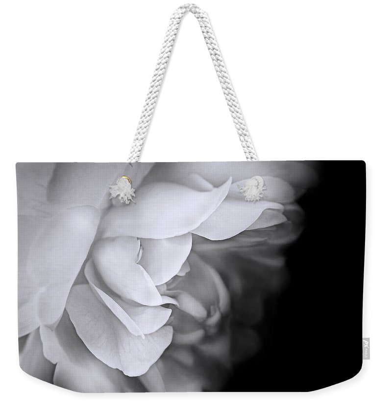 Rose Weekender Tote Bag featuring the photograph Haunting Beauty Monochrome Rose by Jennie Marie Schell