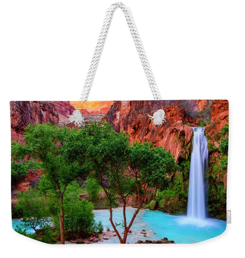 Arizona Weekender Tote Bag featuring the photograph Havasu Falls by Radek Hofman