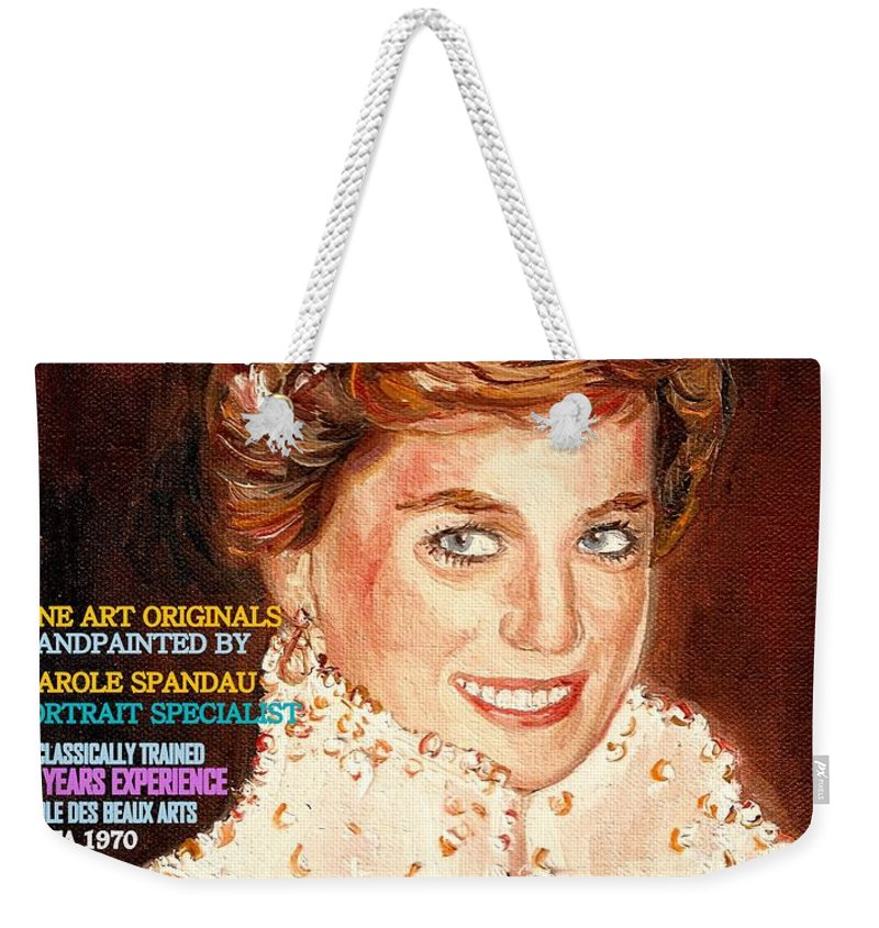 Commissioned Portraits Weekender Tote Bag featuring the painting Have Your Portrait Painted Contact Carole Spandau 30 Years Experience by Carole Spandau