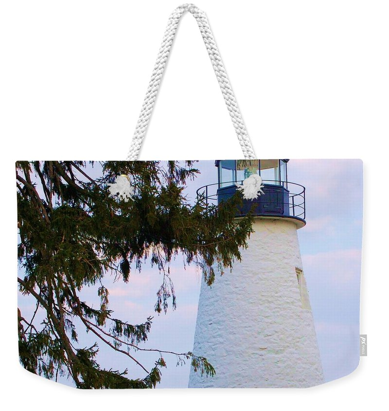 Lighthouse Weekender Tote Bag featuring the photograph Havre De Grace Lighthouse by Debbi Granruth