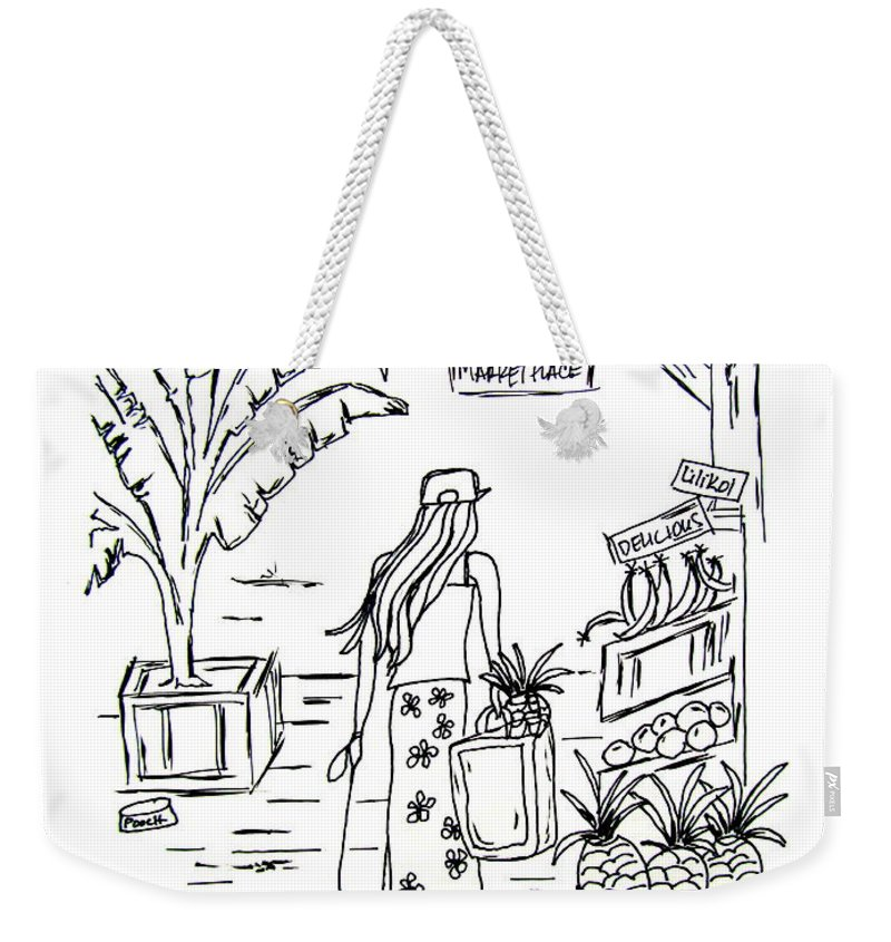Hawaii Weekender Tote Bag featuring the drawing Hawaii Market Place by Jill Torres