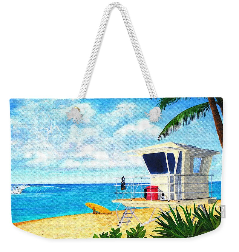 Hawaii Weekender Tote Bag featuring the painting Hawaii North Shore Banzai Pipeline by Jerome Stumphauzer