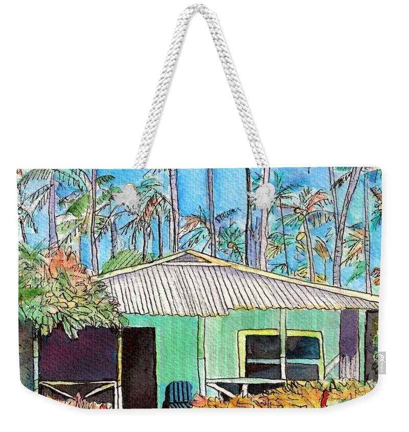 Cottage Weekender Tote Bag featuring the painting Hawaiian Cottage I by Marionette Taboniar
