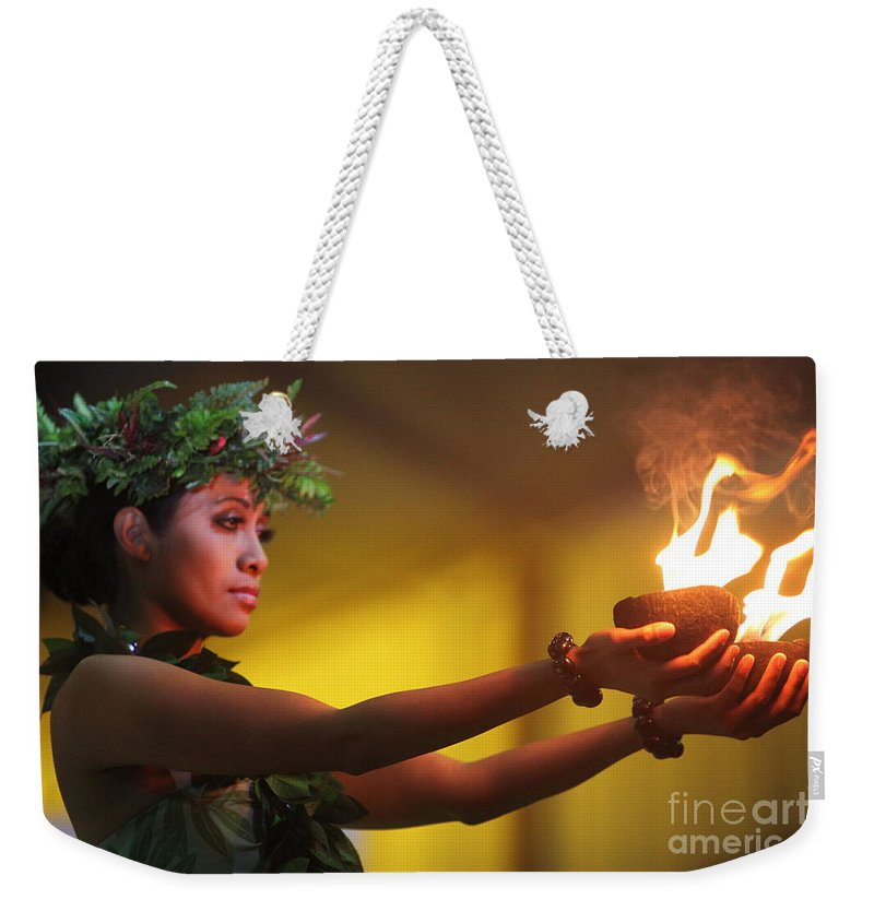 Fire Weekender Tote Bag featuring the photograph Hawaiian Dancer and Firepots by Nadine Rippelmeyer