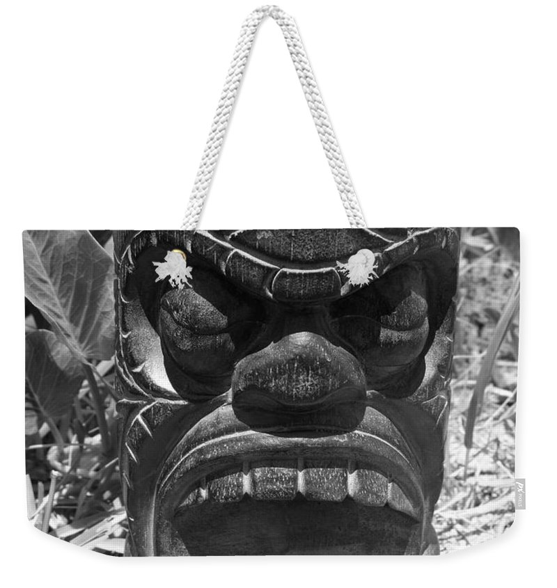 Black And White Weekender Tote Bag featuring the photograph Hawaiian Tiki God Ku by Mary Deal