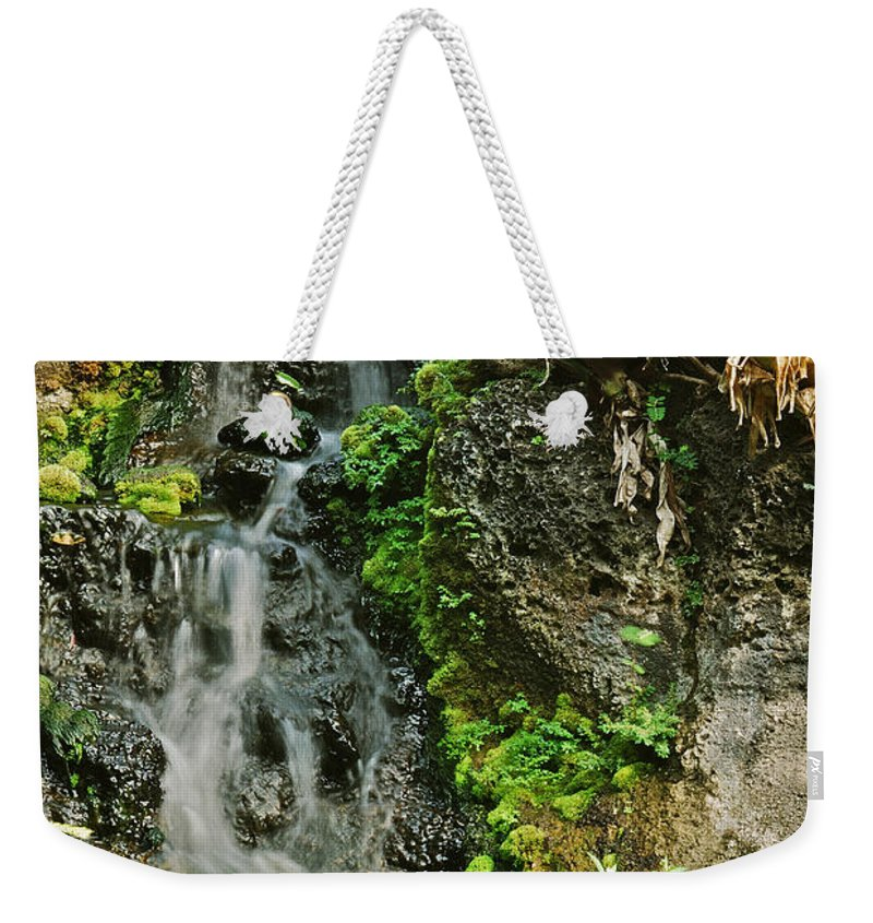 Waterfall Weekender Tote Bag featuring the photograph Hawaiian Waterfall by Michael Peychich