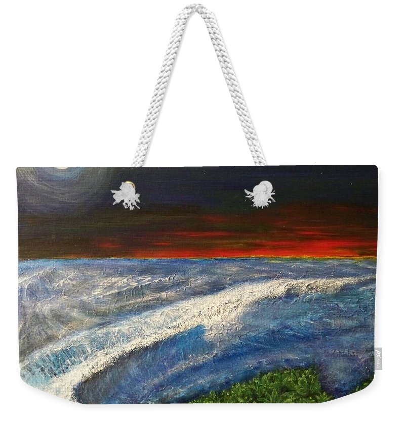 Beaches Weekender Tote Bag featuring the painting Hawiian View by Michael Cuozzo