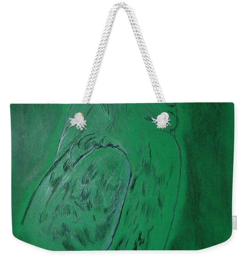 Hawk Weekender Tote Bag featuring the drawing Hawk by Deborah R Minter