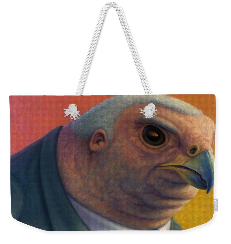 Hawk Weekender Tote Bag featuring the painting Hawkish by James W Johnson