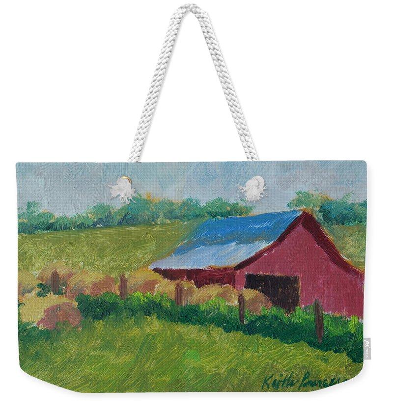 Impressionism Weekender Tote Bag featuring the painting Hay Bales In Morning Light by Keith Burgess