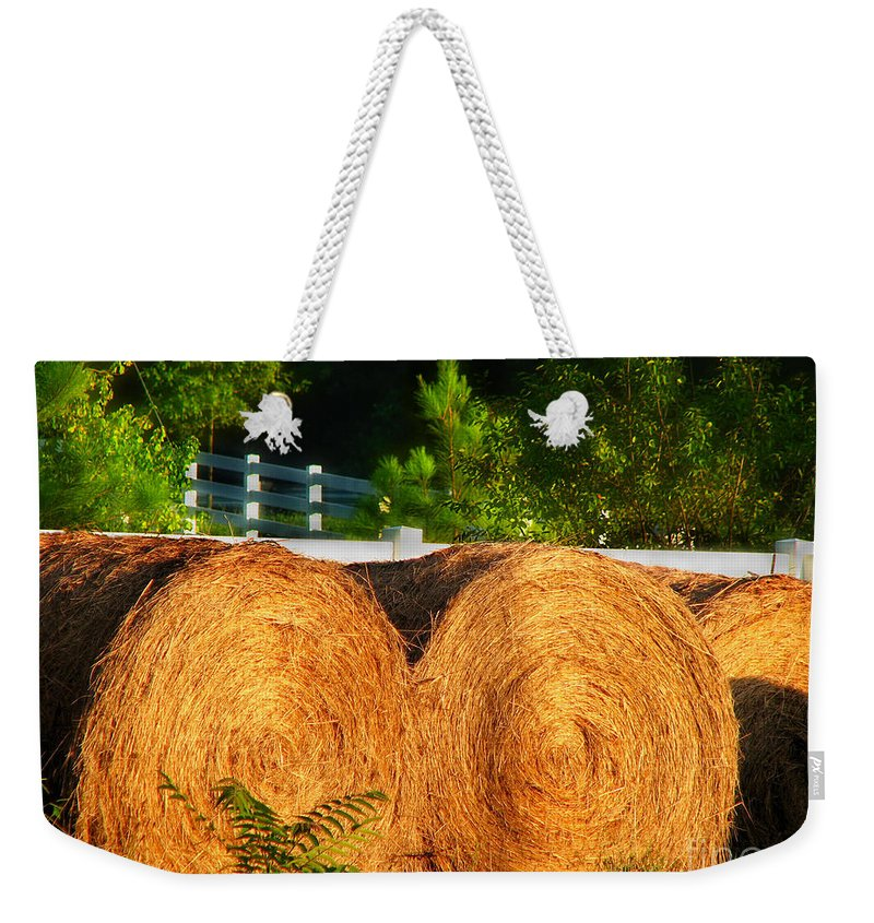 Landscape Weekender Tote Bag featuring the photograph Hay Bales by Todd Blanchard