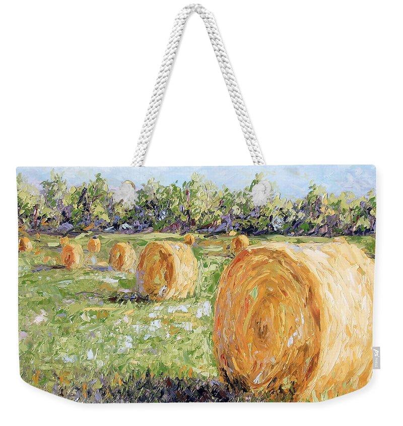 Hay Weekender Tote Bag featuring the painting Hay Rolls by Lewis Bowman