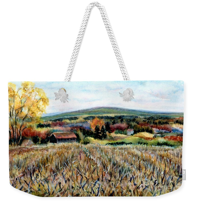 Haycock Mountain Weekender Tote Bag featuring the painting Haycock Mountain In Bucks County Pa by Pamela Parsons