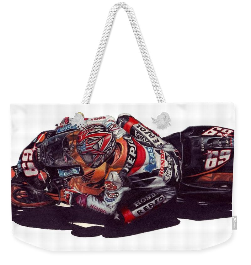 Nicky Hayden Weekender Tote Bag featuring the drawing Hayden by Kristen Wesch