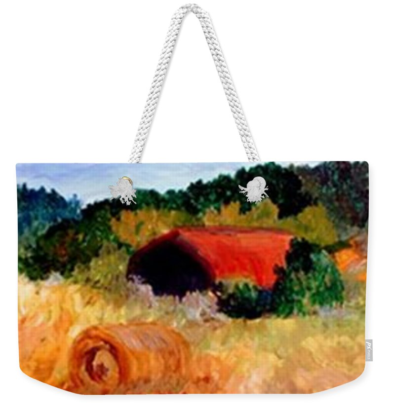 Hayrolls Weekender Tote Bag featuring the painting Hayrolls by Gail Kirtz