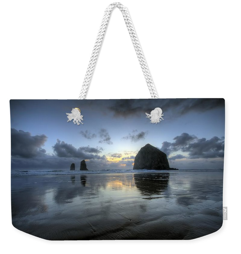 Hdr Weekender Tote Bag featuring the photograph Haystacks At Sunset by Brad Granger